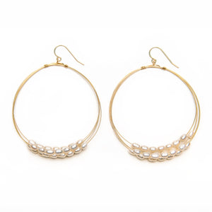 Freshwater Pearl Multi Layered Hoop Earring