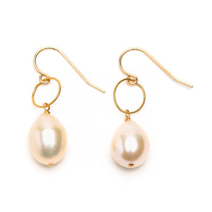 Freshwater Pearl on Petite Hoop Earrings