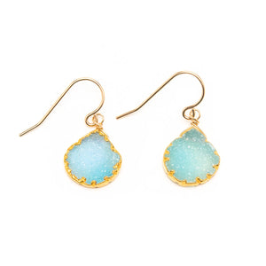 Bezeled Blue Druzy Nugget Earrings
