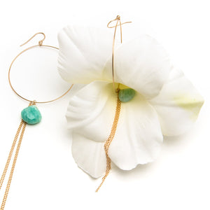 White Gladiola and Amazonite Earrings