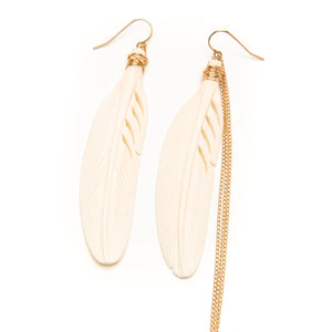 Bone Feather and Chain Earrings