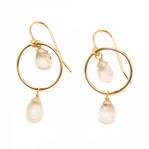 Saloni Moonstone Petite  Hoop Earrings