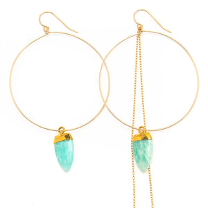 Bezeled Amazonite Hoop Earrings