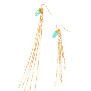 Bezeled Amazonite and Dazzling Chain Earrings