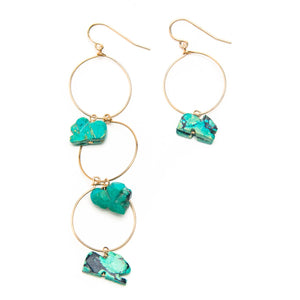 Vintage Mexican Turquoise Hoop Earrings