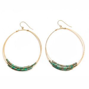 Nepal Turquoise Multi Layered Hoop Earrings
