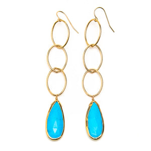 Bezeled Sleeping Beauty Turquoise Link Earrings