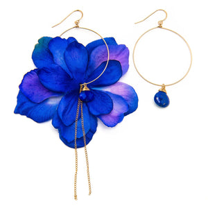 Indigo Delphinium and Lapis Earrings