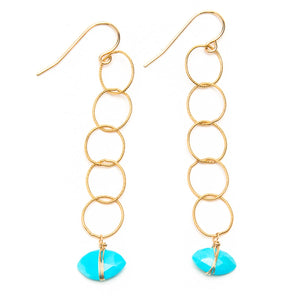 Wrapped Sleeping Beauty Turquoise Link Earrings