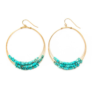 Sleeping Beauty Turquoise Multi Layered Hoop Earrings