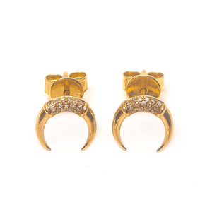14K YELLOW GOLD C SHAPE EARRINGS