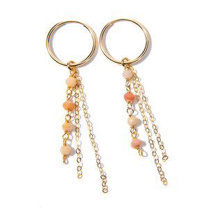 Pink Opal Rondelle Earrings