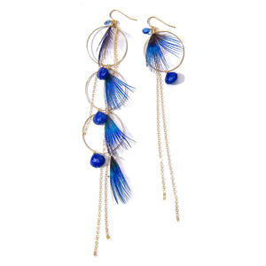 Lapis, Kyanite and Peacock Chandelier Earrings