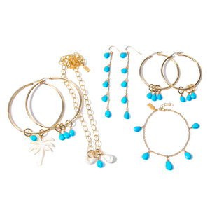 Large Sleeping Beauty Turquoise Hoops