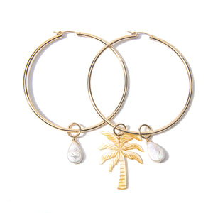 Large Pearl Palm  Hoop Earrings