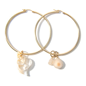 Shell and Solar Quartz Hoop Earrings