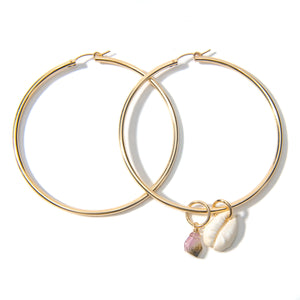Shell and Tourmaline Hoop Earrings