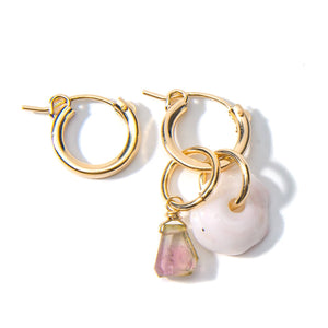 Puka Shell and Tourmaline Hoop Earrings