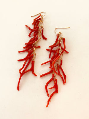 RED VINTAGE ITALIAN CORAL BRANCH EARRINGS