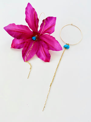 FUSCHIA CLEMATIS SILK FLOWER EARRING
