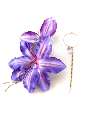 LILAC CLEMATIS SILK FLOWER EARRING