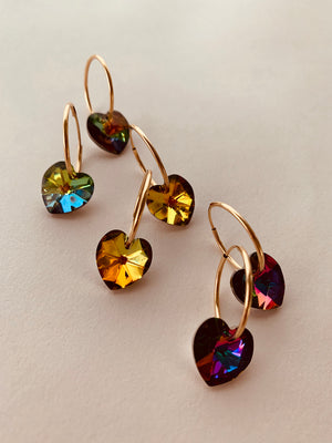 VINTAGE SWAROVSKI PRISMATIC HEART TINY HOOPS