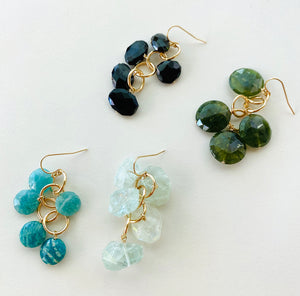 BLUE GREEN WATERFALL EARRINGS