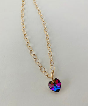 VINTAGE SWAROVSKI PRISMATIC HEART NECKLACE