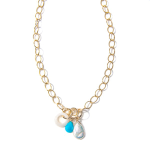 Turquoise, Pearl and Shell Necklace