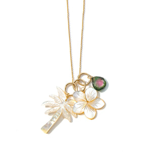 Mother of Pearl and Tourmaline Charm Necklace