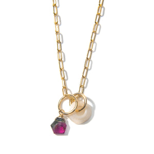 Puka Shell and Tourmaline Charm Necklace