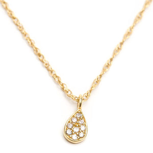 Solid 14k Gold and Diamond Drop Necklace