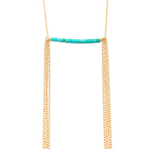 Sleeping Beauty Turquoise Bar and Chain Necklace