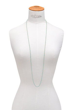 Long Sleeping Beauty Turquoise Rondelle Necklace