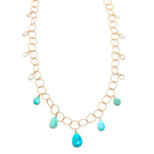 Sleeping Beauty Turquoise and Saloni Moonstone Drops Necklace