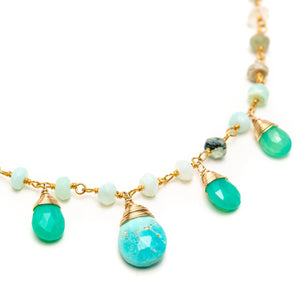 Peruvian Opal Rondelle with Chrysophrase and Turquoise Drop Necklace