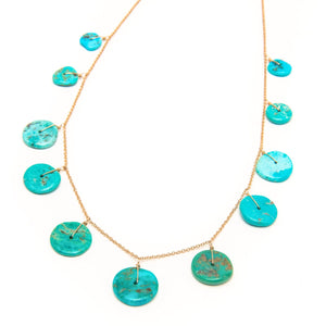 Vintage Turquoise Full Moon Necklace