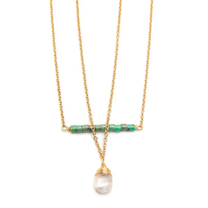 Nepal Turquoise Bar and Rainbow Moonstone Drop Necklace