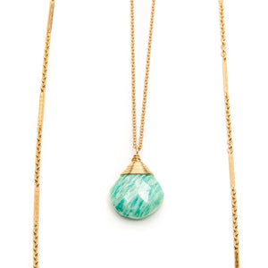 Layered Amazonite Chain Necklace