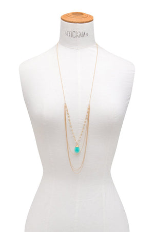 Layered Amazonite and Saloni Moonstone Necklace