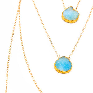 Layered Blue Druzy Necklace
