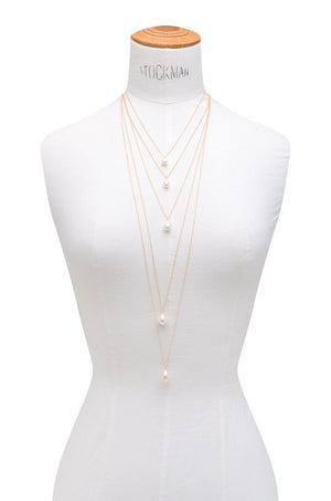 Layered Freshwater Pearl Drop Necklace