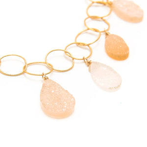 Druzy and Imperial Topaz Link Necklace