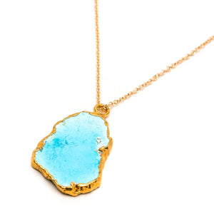 Bezeled Sleeping Beauty Turquoise Slice Necklace