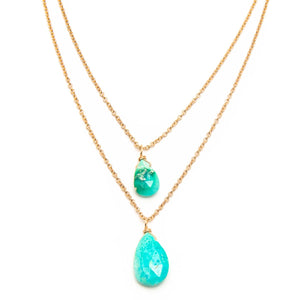 Double Drop Sleeping Beauty Turquoise Necklace