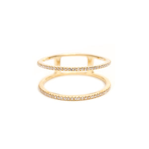 Solid 14k Gold and Diamond Double Ring