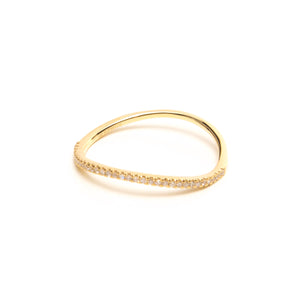 SOLID 14K GOLD AND DIAMOND WAVY RING