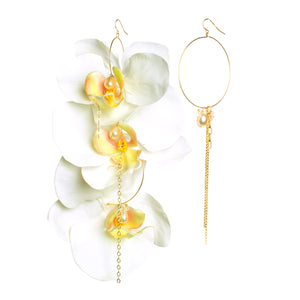 TRIPLE WHITE ORCHID EARRINGS
