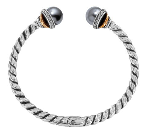Neptune's Rings Gray Pearl Open Hinged Bangle JF665E - Johnathan Michael's Boutique