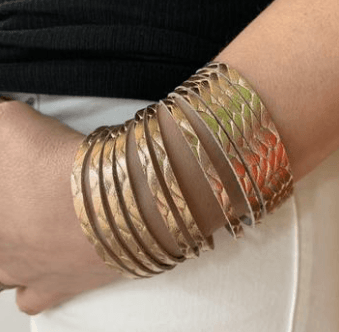 Rose Gold Braided Leather Slit Cuff